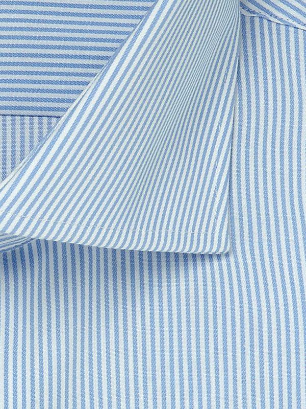 Overhemd lichtblauw streep cutaway boord 100% katoen non-iron detail