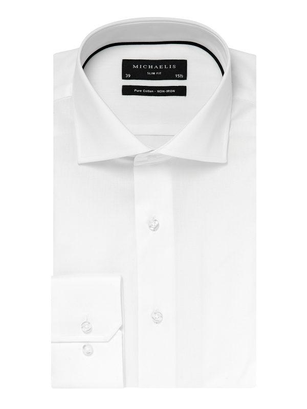 Overhemd wit cutaway boord 100% katoen non-iron