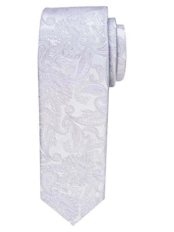 Stropdas zuiver zijde paisley patroon zilver smal