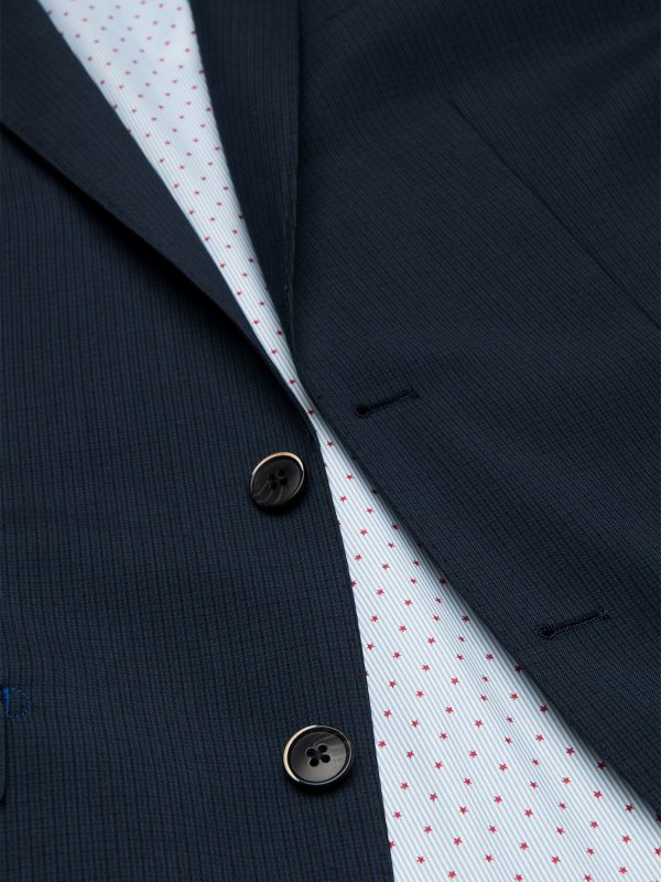 Slim fit kostuum donkerblauw detail