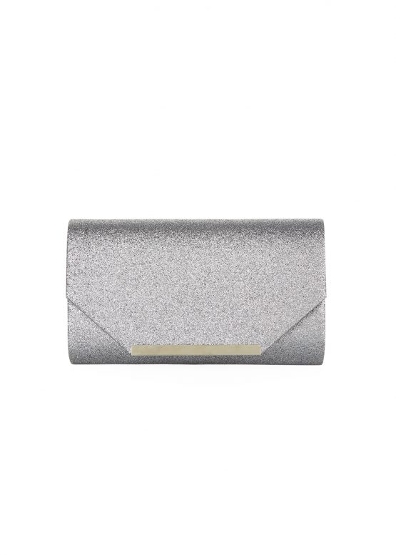 Clutch glitter metallic antraciet flap