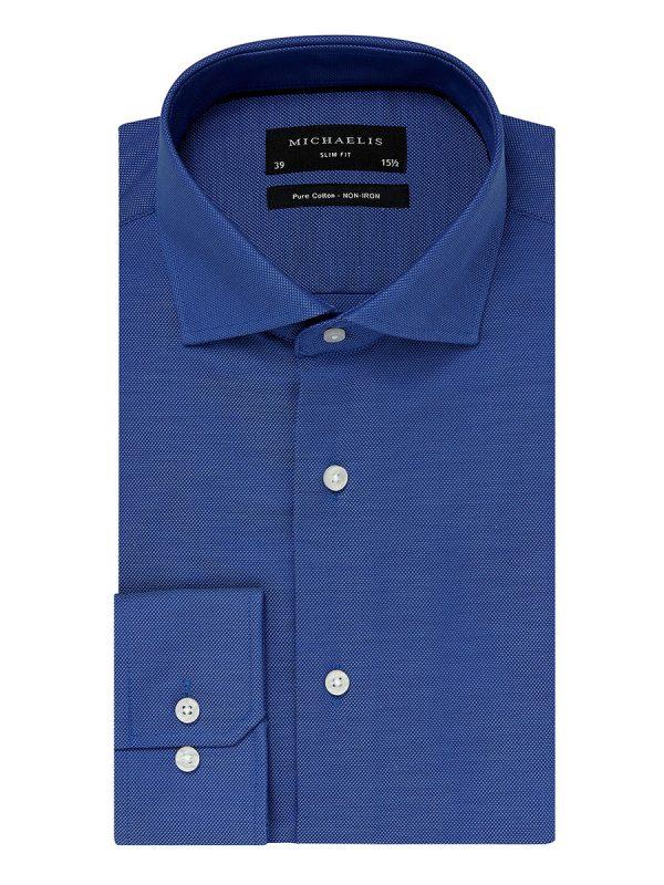 Overhemd blauw cutaway boord 100% katoen non-iron