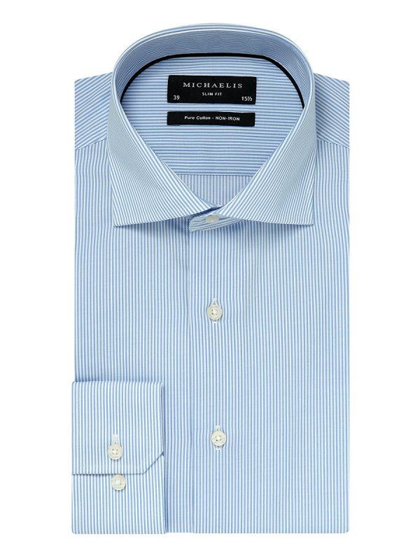 Overhemd lichtblauw streep cutaway boord 100% katoen non-iron