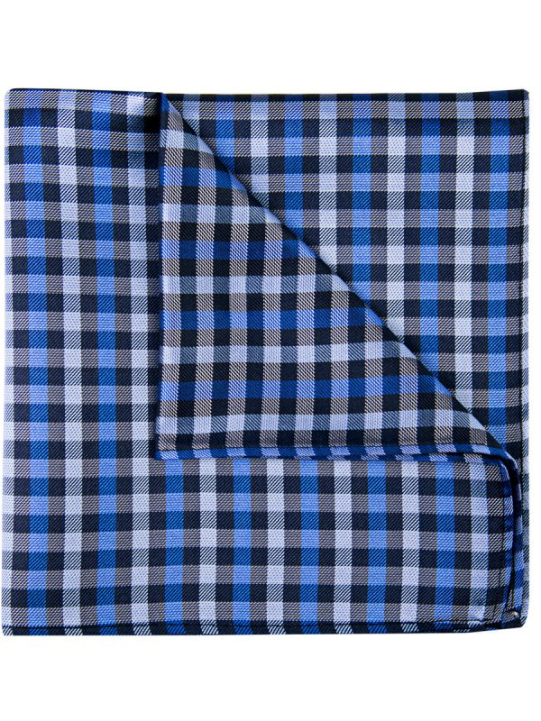 Pochet zijde geblokt blauw zwart wit