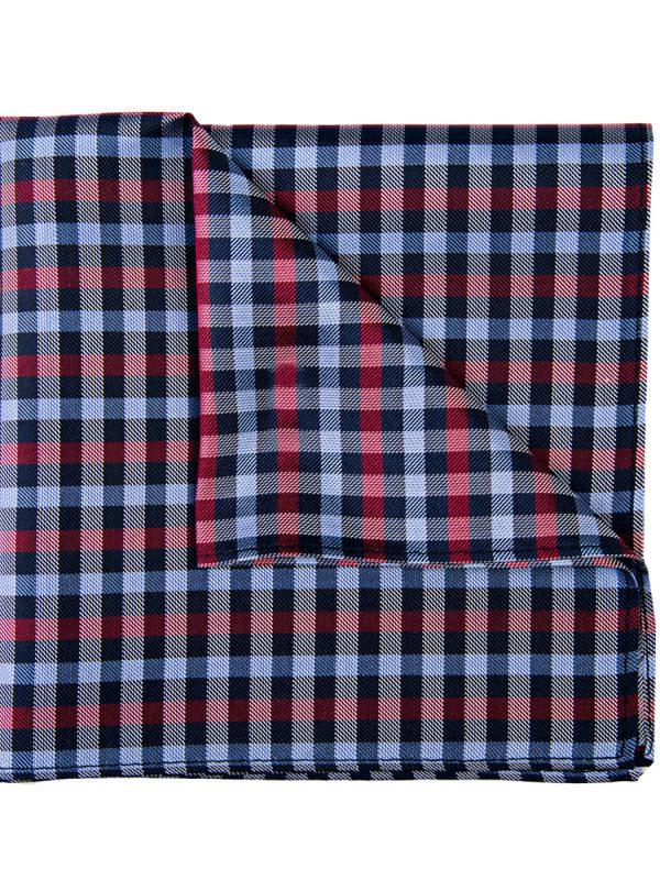 Pochet zijde geblokt rood blauw zwart