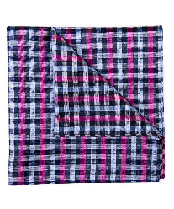 Pochet zijde geblokt roze zwart wit
