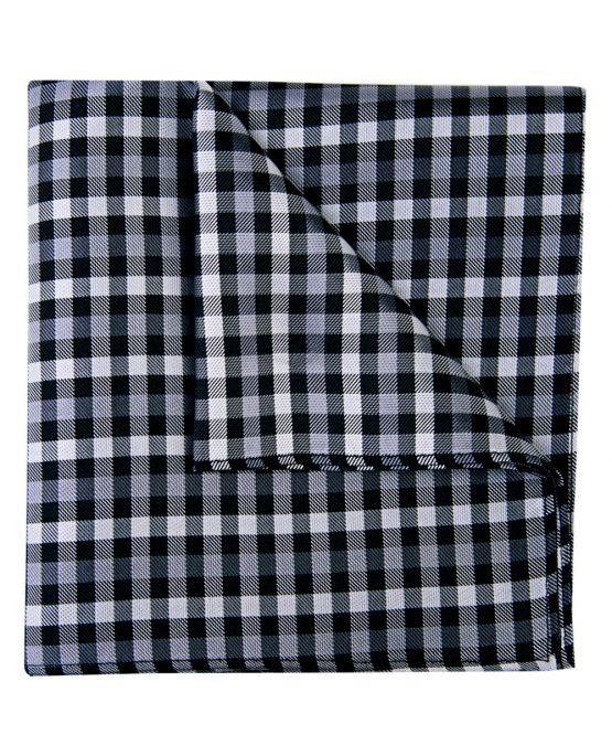 Pochet zijde geblokt zwart wit