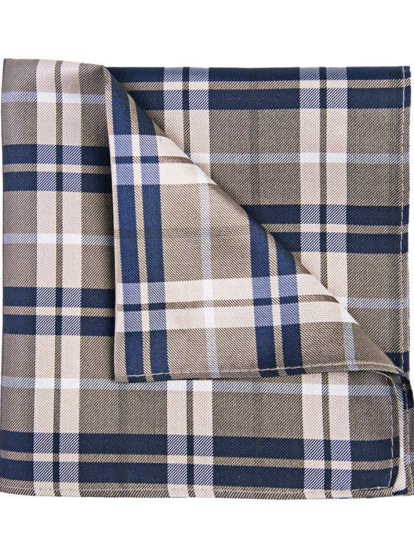 Pochet zijde geruit beige blauw