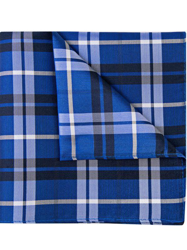 Pochet zijde geruit blauw donkerblauw