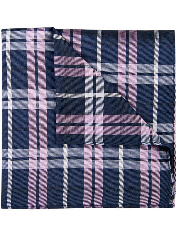 Pochet zijde geruit blauw roze