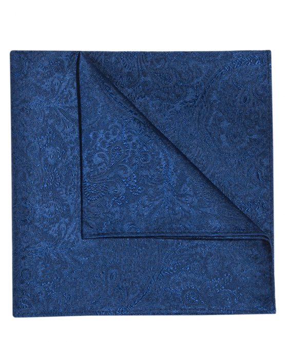 Pochet zijde paisley donkerblauw
