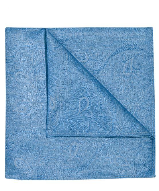 Pochet zijde paisley lichtblauw