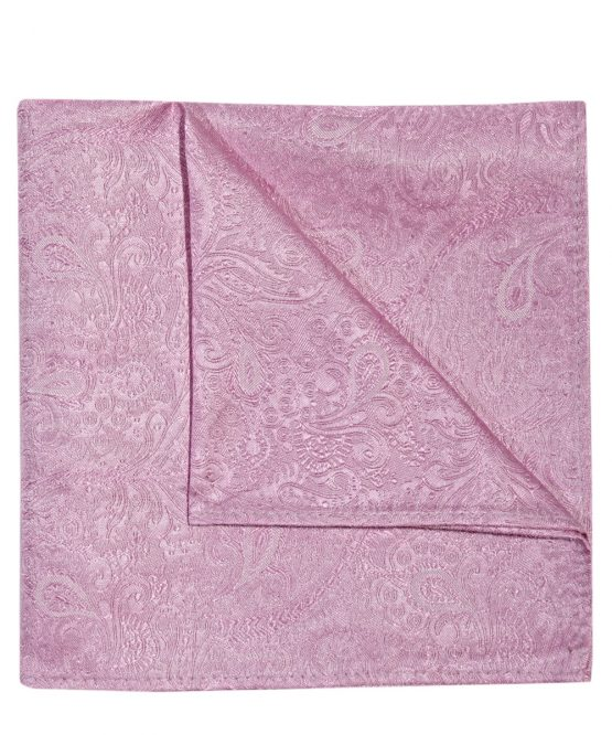 Pochet zijde paisley roze uni
