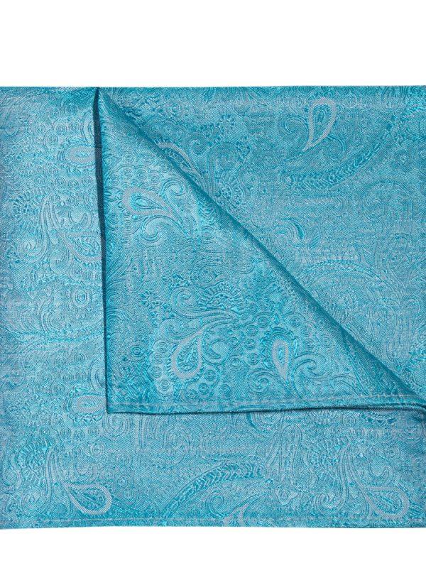 Pochet zijde paisley turquoise