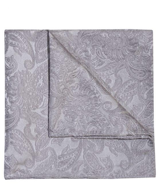 Pochet zijde paisley zilvergrijs