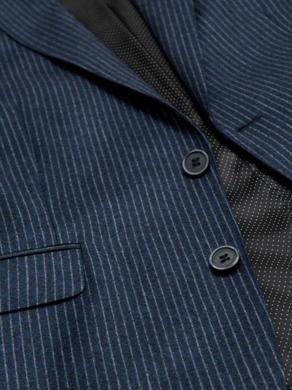 Slim fit kostuum krijtstreep navy detail