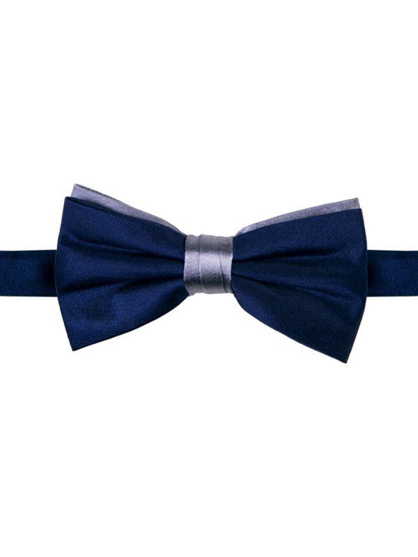 Strik zuiver zijde two-tone navy-grijs