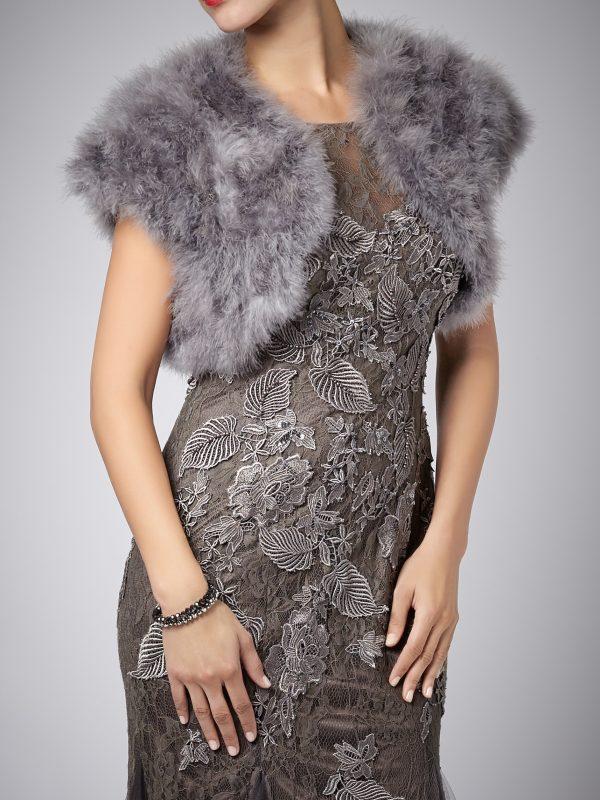 Bolero struisvogel veren charcoal
