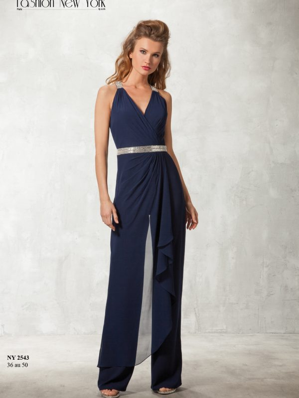 Jumpsuit navy zilver steen