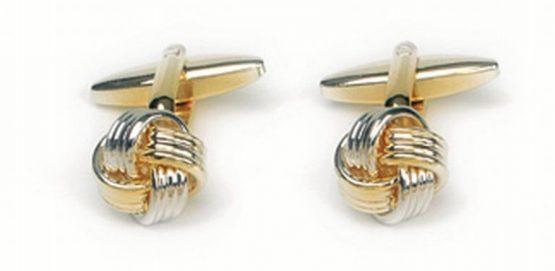 Manchetknopen goud-zilver kleurig knoop goud-zilver