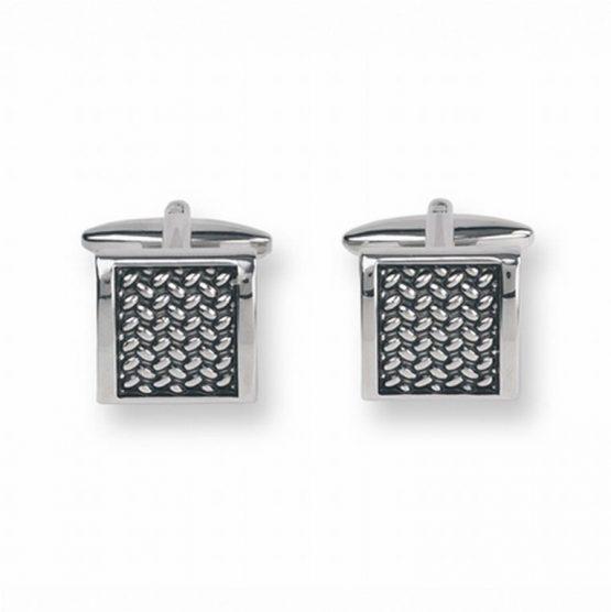 Manchetknopen zilverkleurig diagonaal rooster vierkant