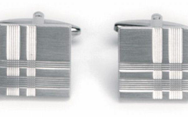 Manchetknopen zilverkleurig patroon vierkant