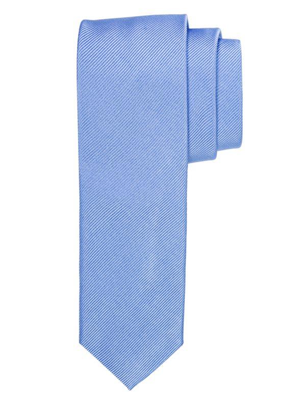 Stropdas zuiver zijde streep uni hemelsblauw