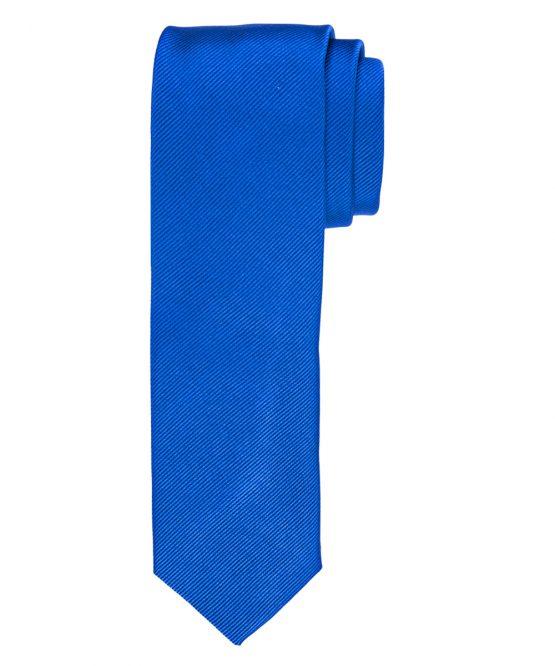 Stropdas zuiver zijde streep uni kobalt blauw