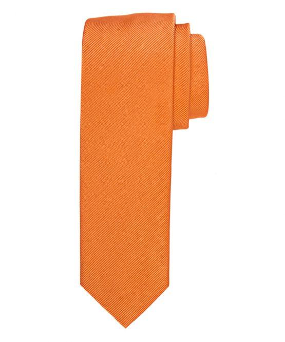 Stropdas zuiver zijde streep uni oranje
