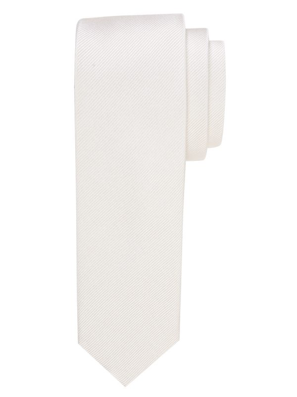 Stropdas zuiver zijde streep uni wit