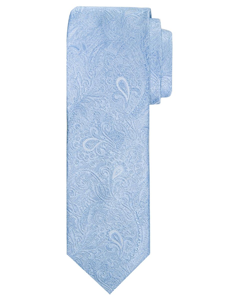 Stropdas zuiver zijde paisley patroon hemelsblauw