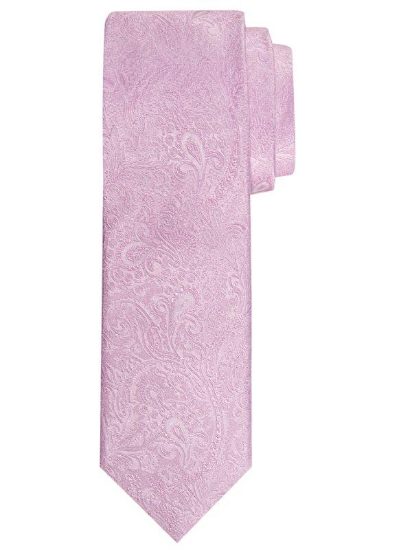 Stropdas zuiver zijde paisley patroon roze