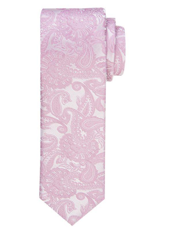 Stropdas zuiver zijde paisley patroon wit-roze smal