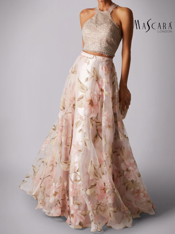 2-piece jurk bloemen print rok lang blush