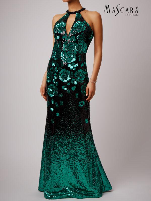 Bloemen patroon pailletten jurk lang groen voorkant