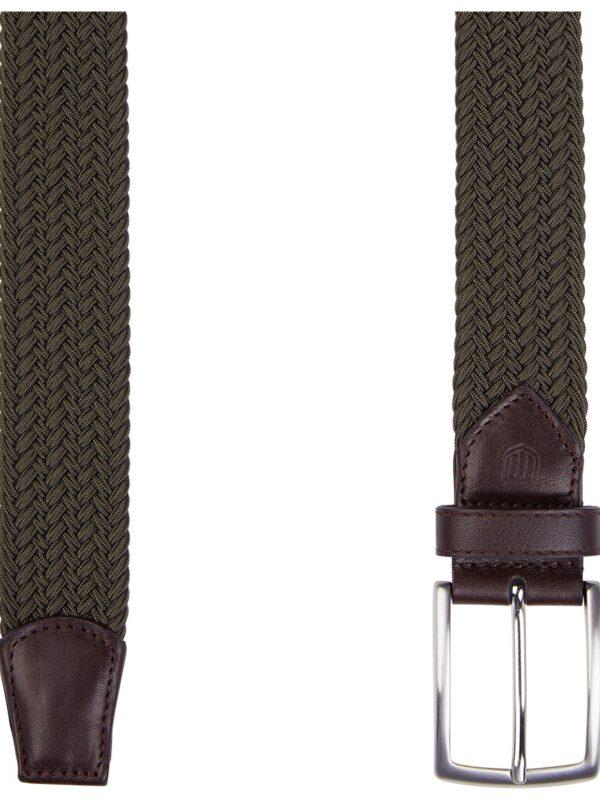 Geweven elastische groene riem detail