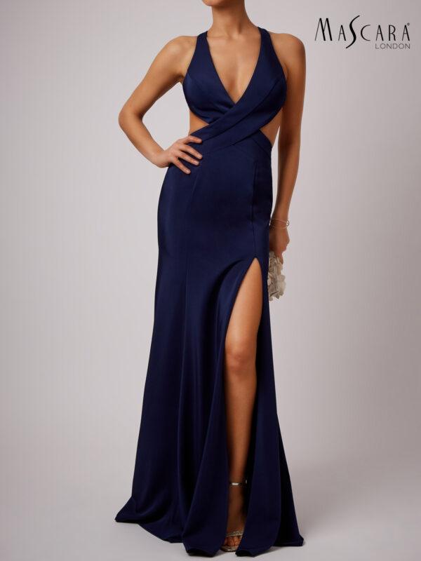 Open V-hals jurk lang navy voorkant