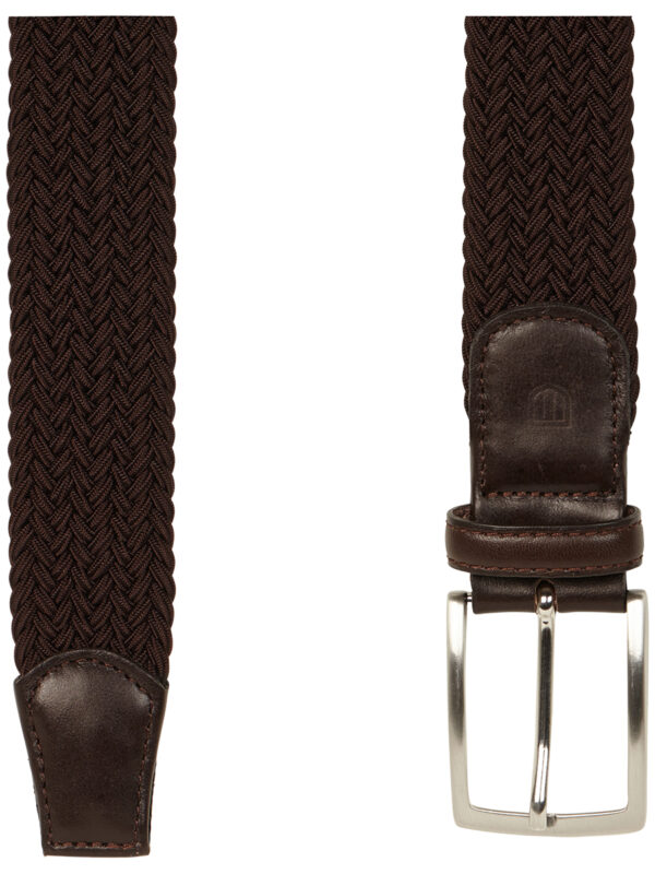 Geweven elastische bruine riem detail