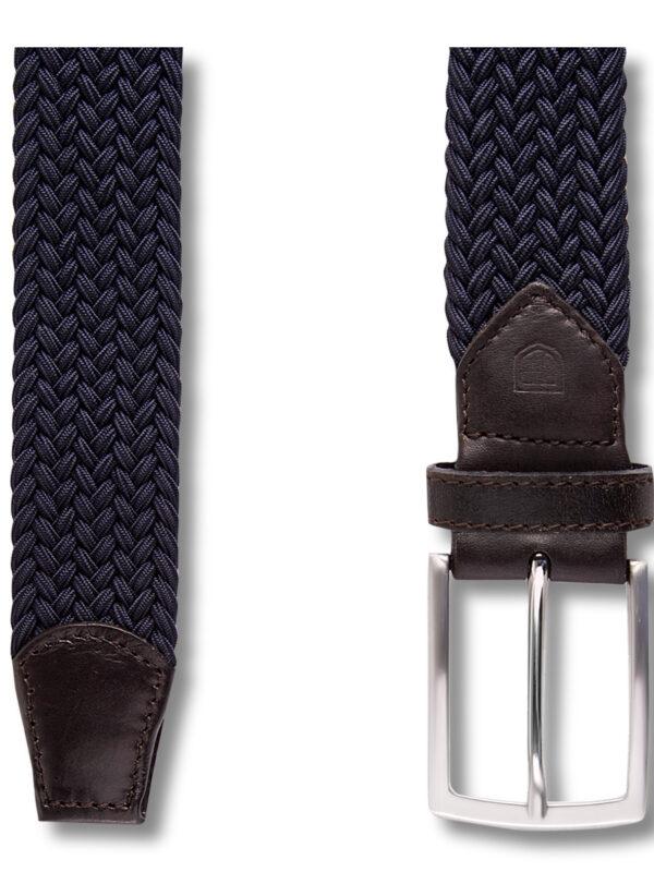 Geweven elastische navy riem detail