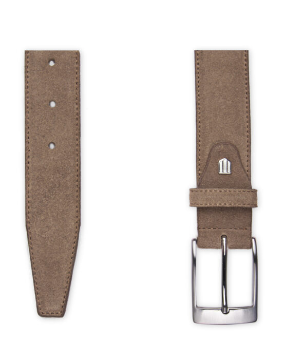 Taupe suede riem detail