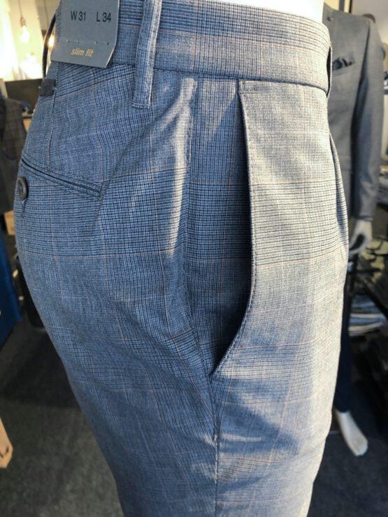 Pantalon Italiaans bandplooi grijs detail zij