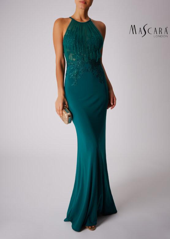 Plissé halter opengewerkte jurk lang groen voorkant