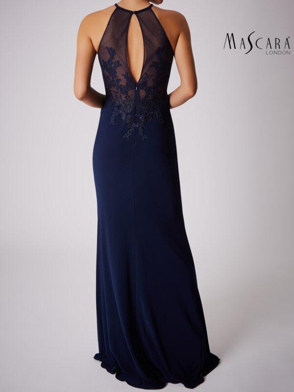 Plissé halter opengewerkte jurk lang navy achterkant