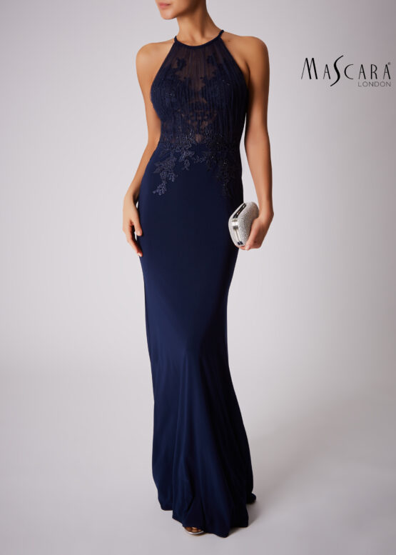 Plissé halter opengewerkte jurk lang navy voorkant