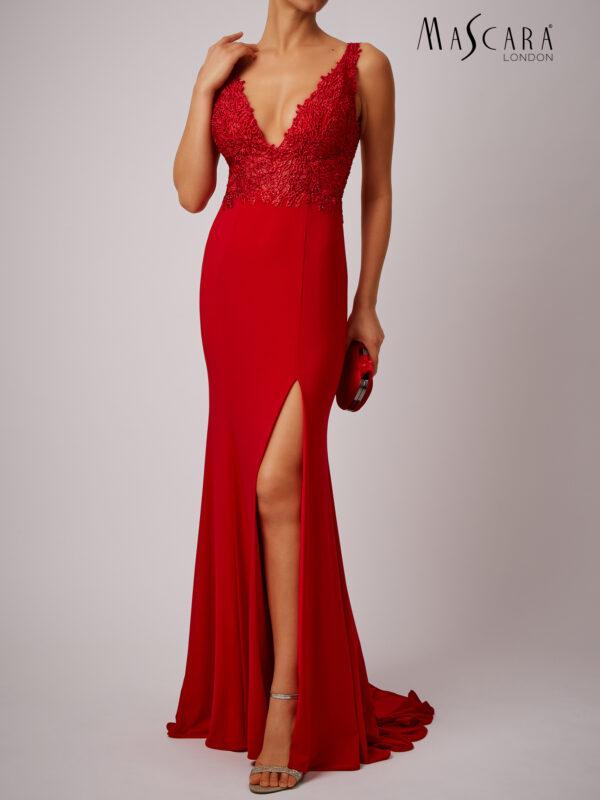 V-hals jurk lang rood met kant