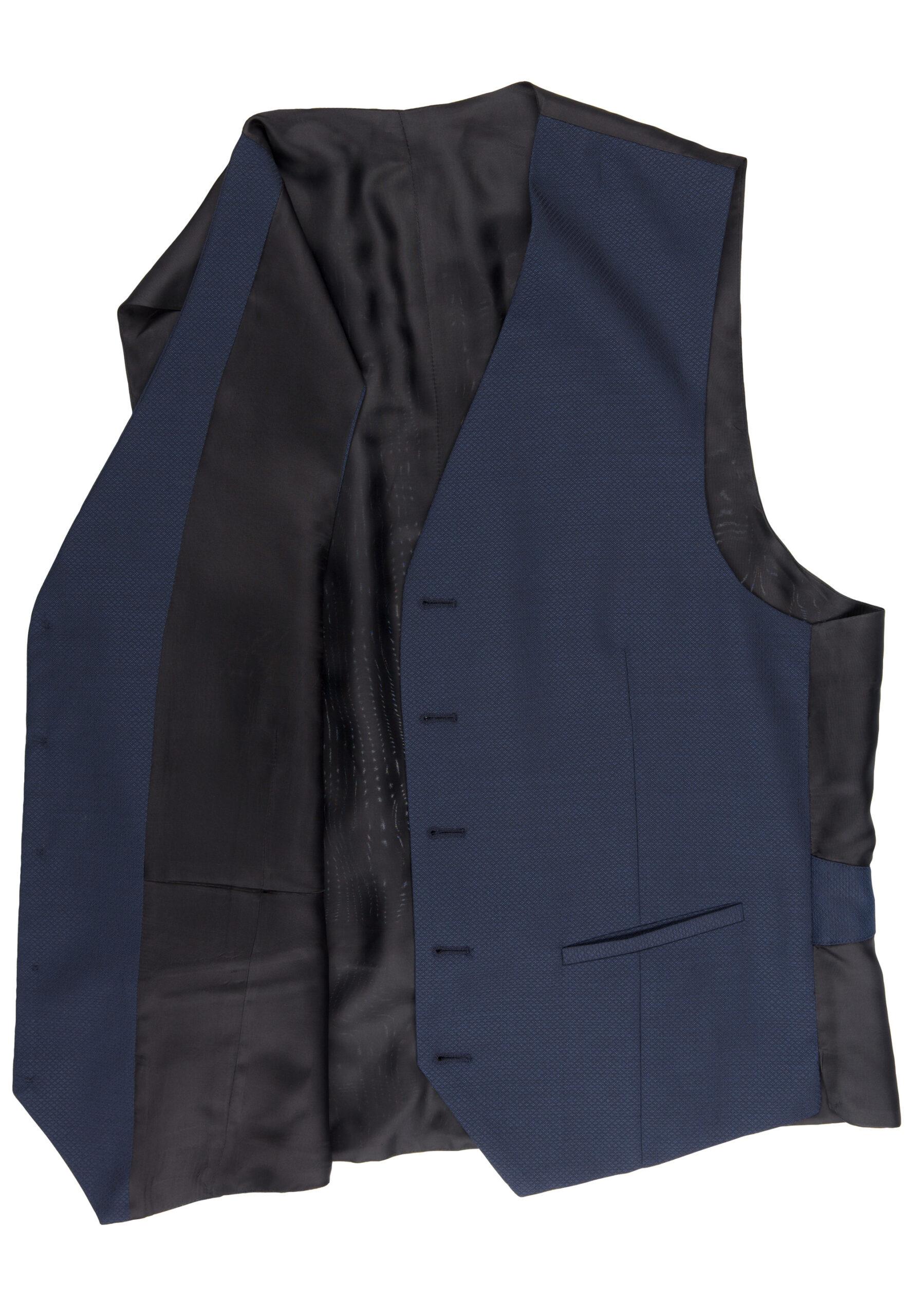 Slim Fit Kostuum Navy Structuur Marzotto gilletje detail