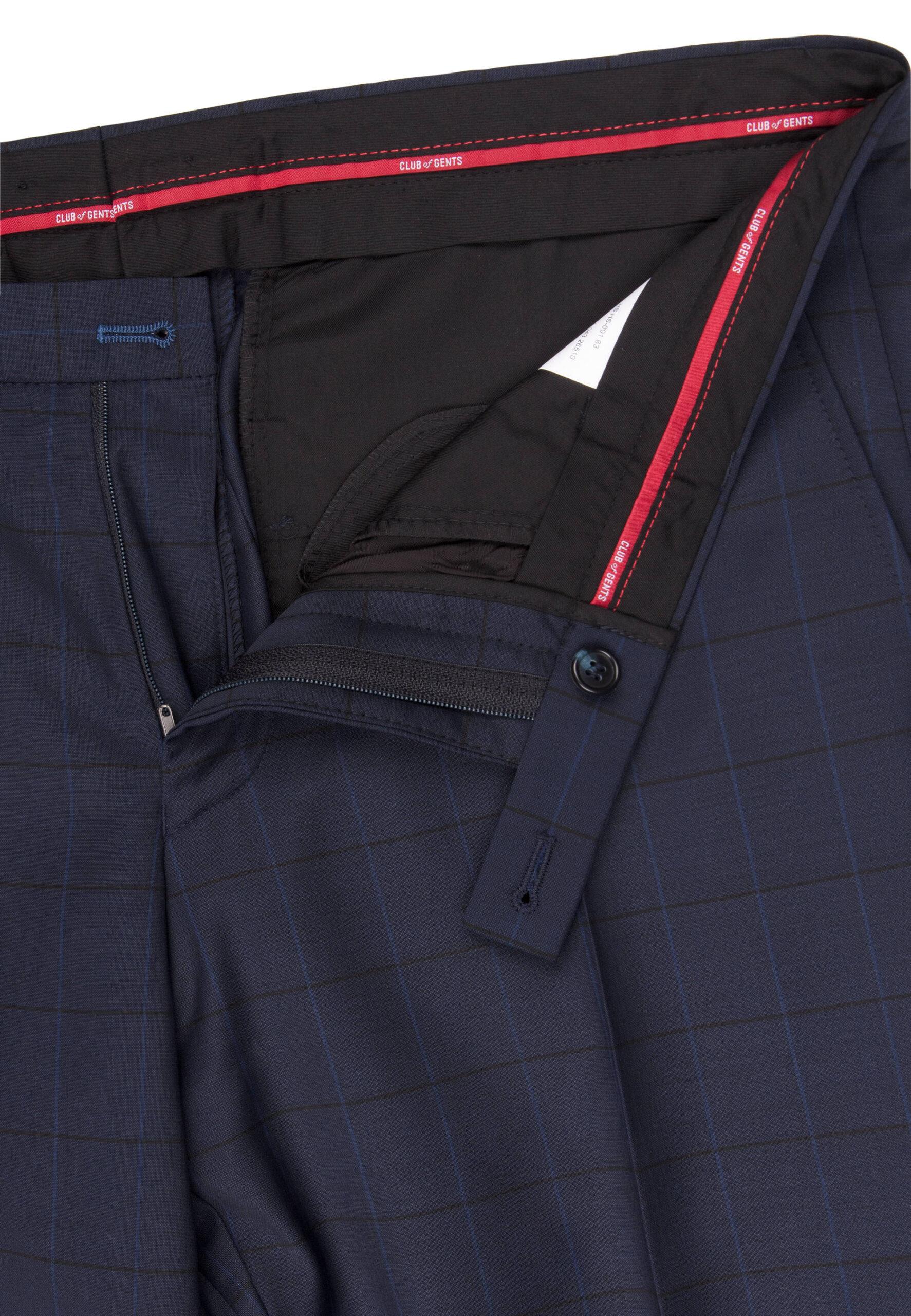 Slim Fit Kostuum Navy geruit broek detail