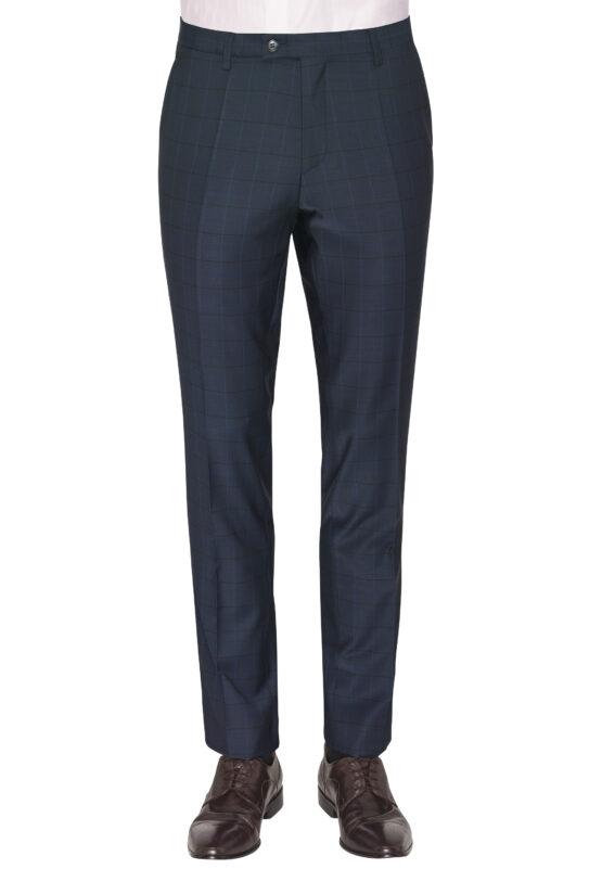 Slim Fit Kostuum Navy geruit broek voor
