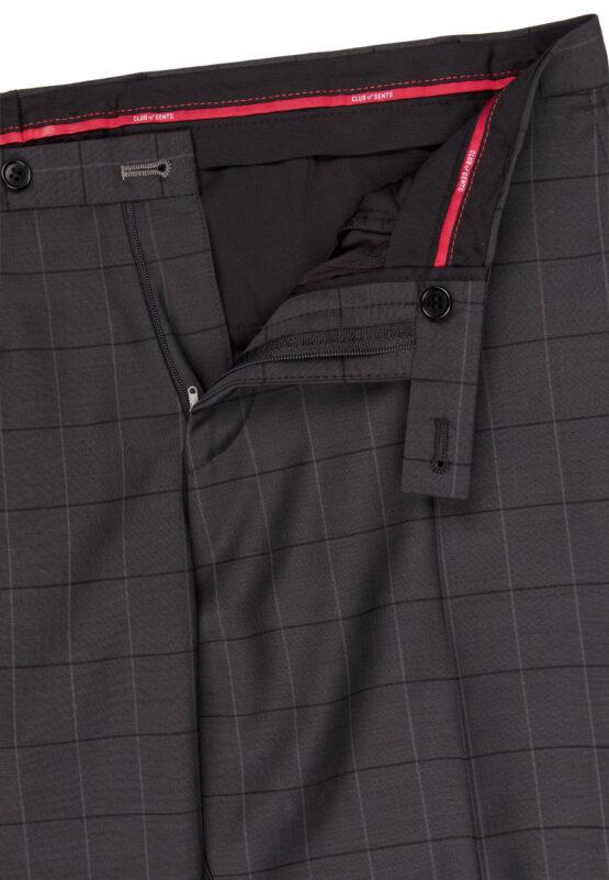 Slim Fit Kostuum Grijs geruit broek detail