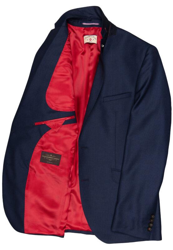 Slim Fit Kostuum Navy Guabello Savile Row jas detail